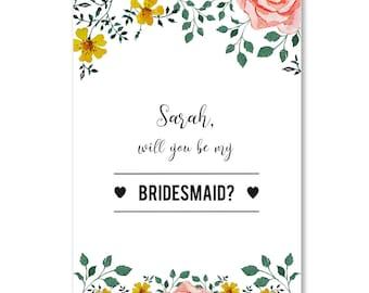 Personalised Floral Will You Be My Bridesmaid Card, Rustic Wedding, Bridesmaid Cards, Custom Wedding Cards Bridesmaid Invitation Card