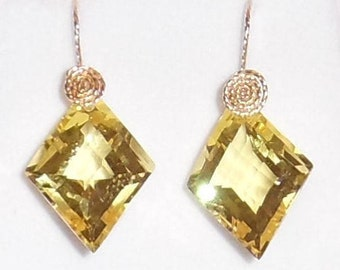 NATURAL 29ct Fancy Lemon Quartz gemstone, 14kt yellow gold Pierced Earrings