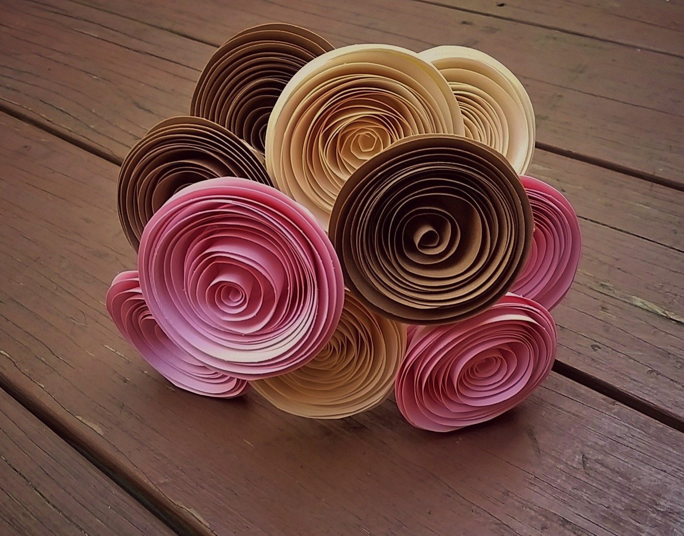 Paper Flower Bouquet Pale Pink Light Brown Ivory