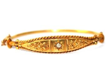 Victorian Etruscan Diamond set 15ct Gold Bangle - FREE WORLDWIDE SHIPPING