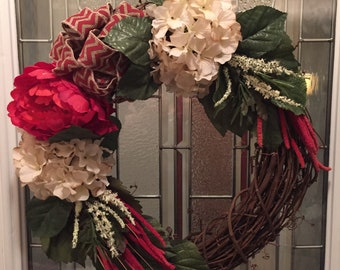 Large Red Rose and Tea Stained Hydrangea Wreath