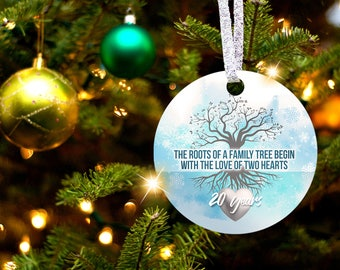 20th Anniversary Tree of Life Christmas Ornament Gift for 20th Wedding Anniversary