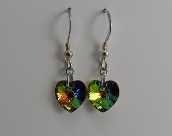 Swarovski Crystal Heart Sterling Silver Green Blue Pink Earrings