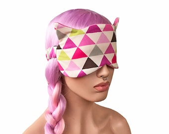 Sleep Mask with Cat Ears Geometric Pink Triangles