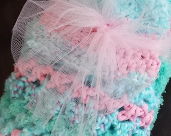 Baby Blanket / Matching Newborn Beanie / Thick Crochet Afghan / Pink/Blue Blanket