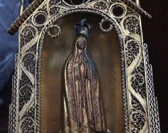 Miniature Madonna in Metal Filligree Chapel