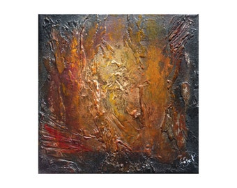 Small rusted gold abstract Original Textured painting impasto Brown black canvas Palette knife decor wall art Artwork Gift for men women her