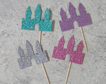 Castle cupcake toppers; Princess themed birthday party