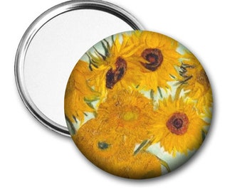 Sunflowers..Van Gogh..Pocket Mirror.Magnet.Pinback..Unique Gift..Accessory..Birthday Gift..Party Favor..Fundraiser