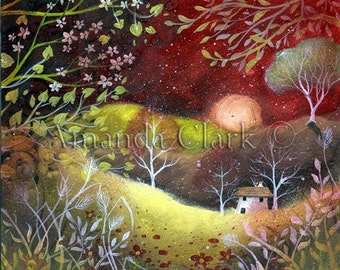 Strawberry sky , art print by Amanda Clark