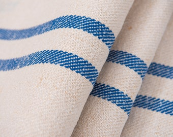 Blue stripes Fabric, Antique linen ,Grain Sack from Europe, yachting pillow, wedding decoration, pillow benchcushion, wedding tablerunner
