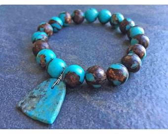 Single Strand Turquoise Bronze Jasper Stretchable Bracelet, Turquoise Bronze Jasper Stretchable Bracelet, Turquoise Pendant Bracelet