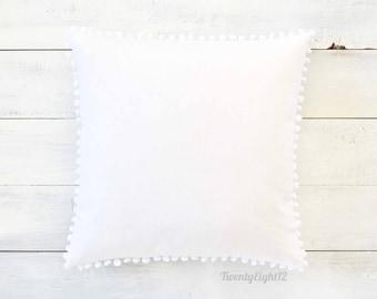 """White Pom Pom Pillow Cover -  20"""" x 20"""" - White Boho Pillow, Throw Pillow, Pom Pom Pillow Cover, White Pillow, Nursery Pillow, Nursery Decor"""