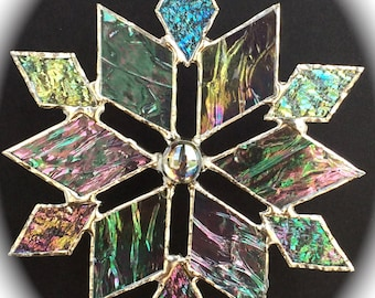 stained glass snowflake suncatcher (design 3C)