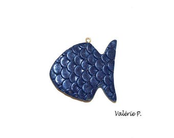 Navy fish pendant blue polymer clay for creations