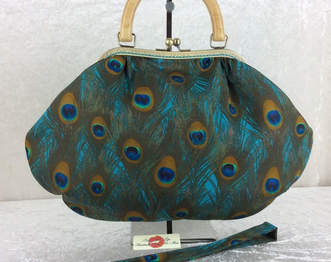 Handmade handbag purse kiss clasp Betty frame bag Peacock Feathers