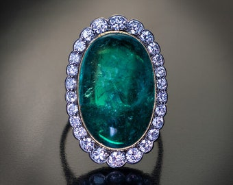 Vintage 15 Ct Colombian Emerald Diamond Ring