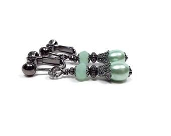 Mint Green Earrings, Drop Earrings, Faux Pearl Earrings, Clip on Earrings, Lever Back or Hook Pierced, Prom Jewelry, Formal Jewelry, Elegant