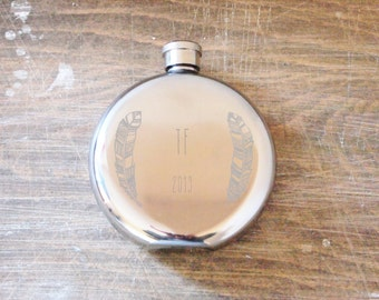 Engraved hip flask Personalised feather flask Initialled dated hip flask Personalized Bridesmaid gift Gift for weddings Bridal Party gift