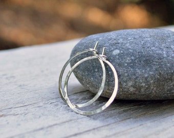 0.625 inch Sterling Silver Hoops, Silver Hoop Earrings, Small Hoops, Hammered Hoop Earrings, Argentium Sterling, Skinny Hoops, Delicate