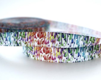 "Rainbow Paint Drops Colors Printed Grosgrain Ribbon 5/8"" Scrapbooking HairBows Parties DIY"