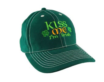Irish Green Ireland Flag Colors Kiss Shamrocks Embroidery on an Adjustable Green Structured Baseball Cap with Option to Personalize the Back