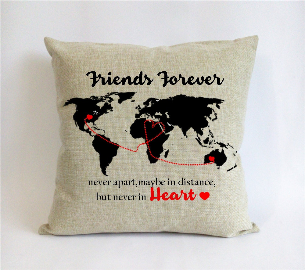 Long distance friend pillow sham bff go away gift world map zoom gumiabroncs Image collections