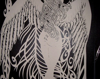 Angel Papercut template Personal use TEMPLATE .PDF download