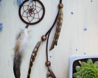 Dream catcher necklace with feathers /  Real feather necklace / Bohemian necklace / Festival Necklace / Hippie Gypsy necklace / Long pendant