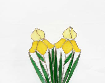 """Yellow Stained Glass Double Iris, Made in USA,  Iris Glass Flower, Stained Glass Garden Decor, Suncatcher, 9 3/4 """" x 5 1/4""""."""
