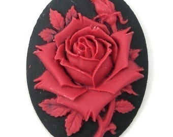 Cameos Plastic Rose Flower Red and Black 40x30mm (2) IC049
