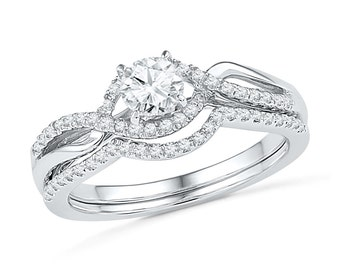 Diamond Twist Engagement Ring Set With 1/2 CT. T.W., White Gold Wedding Ring Set or Sterling Silver Bridal Ring Set
