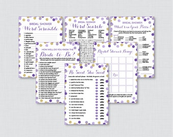 Purple and Gold Bridal Shower Games Package with Six Games- Printable Purple and Gold Glitter Polka Dots Bridal Shower Games - 0001-R