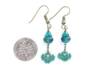 Gift for Women Earrings 24kt Gold Turquoise Beaded Lace Lampwork Earrings, Southwestern Earrings, Lampwork Jewelry, Turquoise Earrings