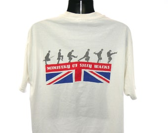 80's Monty Python's Flying Circus Vintage PBS Era John Cleese Ministry of Silly Walks Classic 70's BBC British Comedy Series Promo T-Shirt