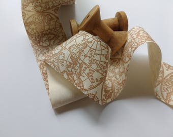 Map gift wrap etsy world map ribbon 2 inch natural canvas beige by the yard gumiabroncs