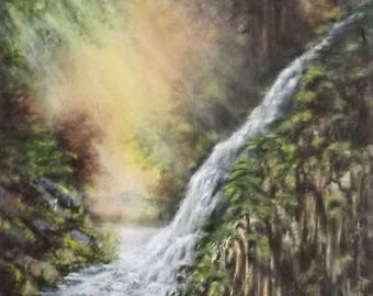 Waterfall canvas painted with acrylics, Impressionist, fall, forest, peace, original painting, AtelierAugerArt order 30 x 24