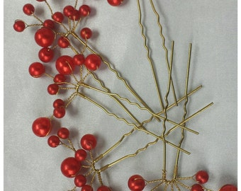 5pcs Red Hairpins Red Bridal Hairpins Red Pearl Wedding Hairpins Red Wedding Accessories Red Pearl Hairpins Bridal Hair Pearl Red Hair Clips