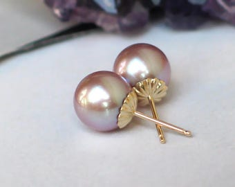 14k Gold Pearl Studs | 9mm Mauve Pink Freshwater Pearls | Solid 14k Yellow Gold Fluted Studs | Birthday Gift | Everyday Pearl Ready to Ship
