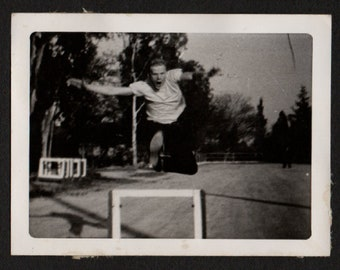 Vintage Snapshot Photo Man in Mid Air Jumping Over Hurdle 1950's, Original Found Photo, Vernacular Photography
