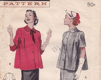 Vintage 1950s Butterick 6194 Two Piece Maternity Dress Boxy Smock Top Vintage Sewing Pattern, Size 14, Bust 32, Complete Part Cut