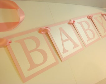 Baby Girl Pink Baby Shower Banner ABC Alphabet Baby Block Theme Baby Shower Decor