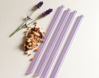 Glass Straws, Set of Four Reusable Lavender Purple Straws
