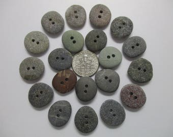 BEACH SEA STONE 16mm Buttons 20 Double Drilled Black Red Khaki Grey Brown Natural Stones Surf Tumbled Sewing Knitting Rock Button  Peb 1422
