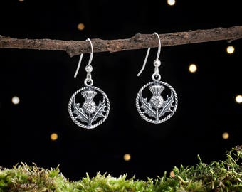 Sterling Silver Scottish Thistle Earrings - Small, Double Sided