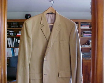 Mens 100% Wool Sport Jacket by Brooks Brothers Light Tan w/3 Buttons Size 48 Full Lining