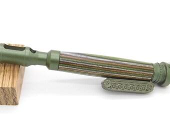 Handgefertigte OD grün Tank Stift mit Woodland Camo Spectraply in grün, braun, Olive, uns militärischen Geschenk, Armee-Track-Fahrzeug-Geschenk