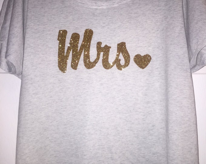 Mrs shirt . Mrs bride t-shirt - with heart, glitter writing , off shoulder , flowy short dolman sleeves , triblend , wide neck,