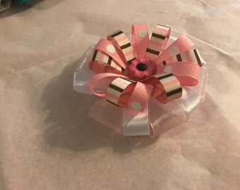 Fun Pink Brown White Stripes Poke a Dots Flower Hair Bow, Alligator Clip Barrette
