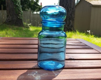 Brilliant Blue Short Apothecary Jar with a Bubble Top - Made in Belgium